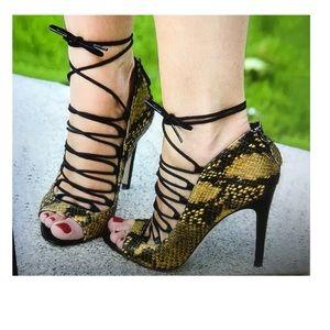 Zara High Heel Lace Up Sandals Size 7